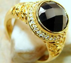 Beautiful Solid Black Onyx Sterling Silver Ring s. 9