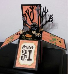 Halloween Card in a Box using Cricut Happy Hauntings, A fFrightful Affair cartridges and the Close To My Heart stamp set Halloween Greetings. These cards are great fun to make and fit into a size A2 envelope