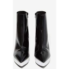 Jeffrey Campbell Divert Leather Bootie (1,060 HKD) ❤ liked on Polyvore featuring shoes, boots, ankle booties, black platform booties, black leather boots, black booties, black high heel booties and ankle boots