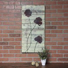 Poppy artwork//flowers on re-purposed wood//farmhouse decor//rustic industrial