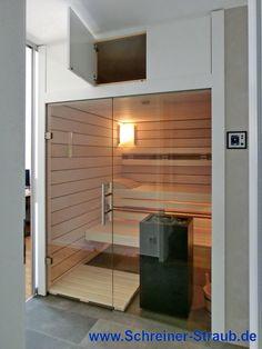 Einbausauna - Paneele aus Ahorn - Glasfront - mit Stauraum Saunas, Divider, Room, Furniture, Home Decor, Room Makeovers, Closet Storage, Architecture, Deco