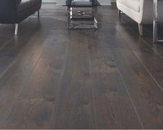 White Oak Living Room w/ dark stain - Carlisle Wide Plank Flooring Oak Flooring, Dark Wood Floors, Wide Plank Flooring, Engineered Hardwood Flooring, Prefinished Hardwood, Stone Fireplaces, Kitchen Time, Flooring Options, Carlisle