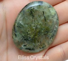 1 Large Rutilated PREHNITE EPIDOTE Palm Stone 1.4 by BlissCrystals, $16.00