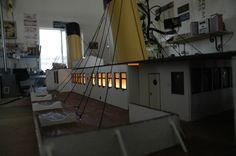 Model of the Titanic, over long! looks like you could just walk down the deck! Titanic Model, Light Up, Two By Two, Deck, Stairs, Furniture, Home Decor, Stairway, Decoration Home