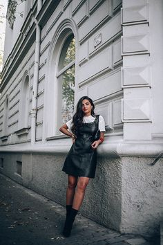 Get this look: http://lb.nu/look/8865655 More looks by Merna Mariella: http://lb.nu/mernamariella Items in this look: Mango Leather Dress #casual #chic #street #leatherdress #autumnlook #fallootd #ootd #sockboots #allblack