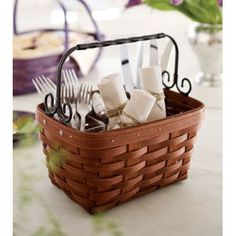 This Artisan Spring Basket is perfect on a table with a divided protector to put silverware in for entertaining.