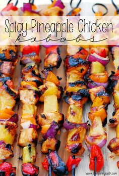 This easy grilling recipe for Spicy Pineapple Chicken Kabobs uses a sweet pineapple marinade and a spicy pineapple sauce during grilling.