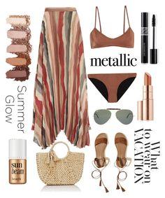 """Metallic swimwear"" by olivialoladog ❤ liked on Polyvore featuring Melissa Odabash, Alice + Olivia, Ray-Ban, Hollister Co., Buji Baja, Christian Dior, Estée Lauder and Benefit"