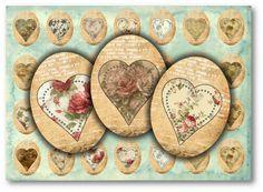 893 - Vintage Floral Hearts 30x40mm Ovals Digital Collage Sheet