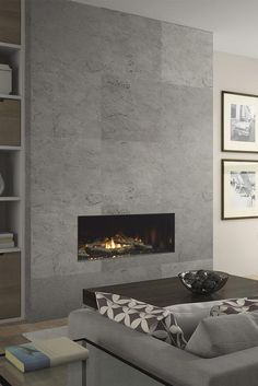 Latest Free Contemporary Fireplace decor Strategies Modern fireplace designs can cover a broader category compared with their contemporary counterparts. Tiled Fireplace Wall, Fireplace Feature Wall, Feature Wall Living Room, Linear Fireplace, Home Fireplace, Fireplace Remodel, Living Room Tv, Living Room With Fireplace, Fireplace Surrounds