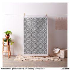 Achromatic geometric square tiles fabric