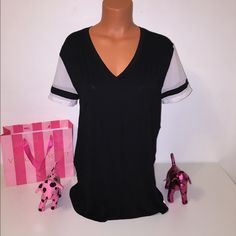 NEW PINK VS MESH SLEEVES SHIRT PINK VICTORIA'S SECRET V NEXK SHIRT WITH MESH SLEEVES AND PINK LOGO IN THE BOTTOM  COLOR WHITE/BLACK SIZE L  FASTSHIPPING!!!  Check out my other items! I am sure you will find something that you will love it! Thank you for watch!!!!! Be sure to add me to your favorites list! PINK Victoria's Secret Tops Tees - Short Sleeve