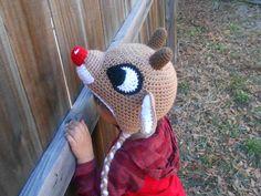 Ravelry: Red-Nosed Reindeer Hat pattern by CrochetCauldron Crochet Animal Hats, Crochet Kids Hats, Free Crochet, Knitted Hats, Hat Crochet, Reindeer Hat, Red Nosed Reindeer, Christmas Crochet Patterns, Holiday Crochet