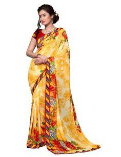 Scintillating Yellow #Georgette Printed #Saree @http://www.maalpani.com/latest-arrivals.html