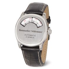 This is the watch that indicates the time in a windowed gauge reminiscent of a 1930s automobile dashboard—and it is only available from Hammacher Schlemmer.