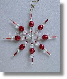 Red and white beaded ornament