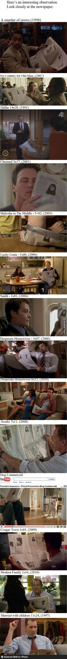 Same Newspaper in TV Shows. What the actual fu?
