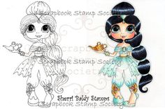INSTANT DOWMLOAD Digital Digi Stamps Big Eye Big Head Dolls Digi  Princess Jasmine By Sherri Baldy