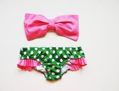 Bubblegum Pink Bow Bandeau Green and white polka by PitaPataDiVa, $119.99