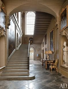 A grand staircase at Easton Neston, fashion mogul Leon Max's historic estate in England.