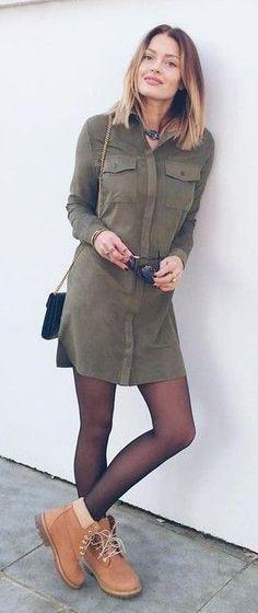 Khaki Suede Shirt Dress  Caroline Receveur