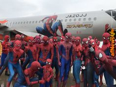 Spider-Man Cosplayers Fill Airplane - http://www.afnews.info/wordpress/2017/06/22/spider-man-cosplayers-fill-airplane/