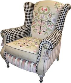 Harlequin wingback. Slightly reminiscent of tea parties and long spring days reading Tennyson really pretty