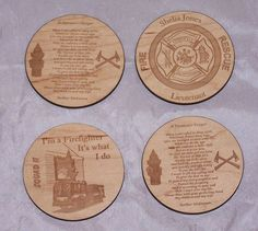 4 Pc Set Wood Leather Drink Coaster Tea Coffee cup Mat Firefighter Table Decor #HandmadeorMadetoorder