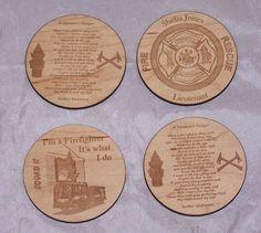 4 Pc Set Wood Leather Drink Coaster Tea Coffee cup Mat Firefighter Table Decor #HandmadeorMadetoorder