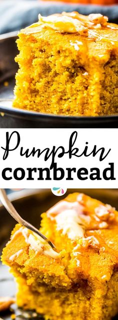 Cozy up for fall with this pumpkin cornbread recipe. It is so easy to make with one bowl, 10 simple ingredients you probably have on hand already and ready in just 30 minutes! Make it for football, for Thanksgiving, for tailgating or as a side dish for your comforting chili - your family will love it! | #thanksgiving #fall #fallrecipes #recipes #comfortfood #thanksgivingrecipes #pumpkin #pumpkinrecipes