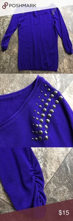 🆕 Express Studded Sweater EUC Express studded shoulder sweater, size small, ruched 3/4 sleeve, color is purple and not as blue as the photos show. Express Sweaters