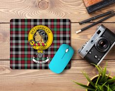 Rubber mousemat with Borthwick clan crest and tartan from ScotClans