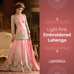 Light Pink Embroidered Lehenga features a net kameez with a heavy satin inner and nazmine chiffon dupatta. Embroidery work is completed with zari and stone embellishments.