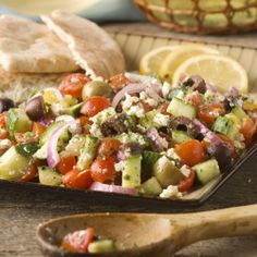 Tomato and Cucumber Salad recipe, a mix of both green and dark olives gives it even more visual interest.