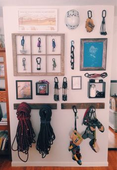 I am definitely copying this, except that I need to use less wall space and have like 15 times more gear than this person... Who owns only 5 cams, one belay device, and 8 QDs??