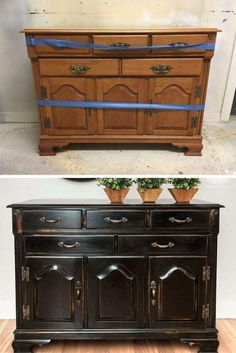 Glossy Black Paint Used To Color Old Chest Drawer