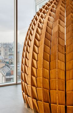 These Regeneration Pods are made from hundreds of pieces of bamboo and provide a place for employees to take a short-term rest. James Bond, Timber Architecture, Architecture Design, Small Office Design, Office Designs, Lotus, Meditation, Digital Fabrication, Soft Seating