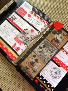 Coloursnme: Filofax Chameleon A5 Black - Disney Characters Mickey & Minnie Mouse Inspired