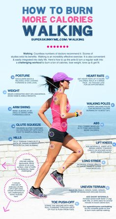 How To Burn More Calories Walking, fitness infographic. Everything there is to know to burn calories when walking! #walk #exercise #befit #getfit