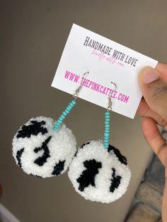Long Tassel Earrings, Western Jewelry, Cow Print, Tassels, Crochet Earrings, Beads, Handmade, Accessories, Fashion