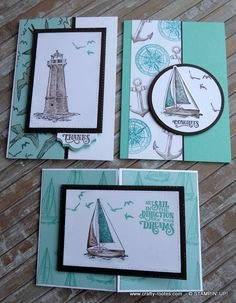Lovely sailing themed cards made using the Sailing Home stamp set and Smooth Sailing dies by Stampin' Up! Masculine Birthday Cards, Birthday Cards For Men, Handmade Birthday Cards, Masculine Cards, Cards For Men Handmade, Card Birthday, Sister Birthday, Diy Birthday, Nautical Cards