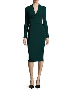 B2Z9L Armani Collezioni Long-Sleeve Ruched-Shoulder Textured Dress, Bottle Green