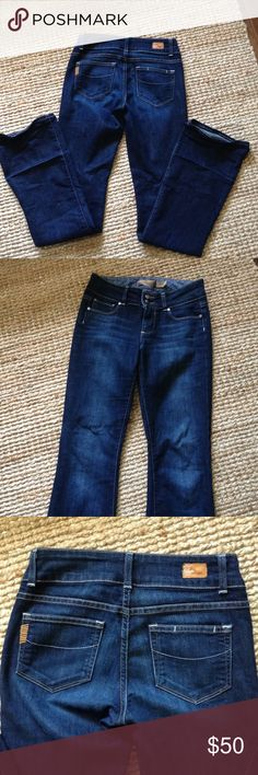 Excellent condition Paige Jeans These are a great pair of Paige 'hidden hills' bootcut denim. Size 25. No fading. The bottom of the jeans do have fold marks and fading from where I had them taped up since I never got them hemmed. They should come out with an iron. Paige Jeans Jeans Boot Cut