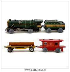 Trackless Train Set, KAY (SPORTS & GAMES) Ltd, Great Britain. (Picture 2 of 2). Vintage Tin Litho Tin Plate Toy. Wind-Up / Clockwork Mechanism. Photo in DOCKERILLS - TIN TOY REFERENCE - GREAT BRITAIN - Google Photos