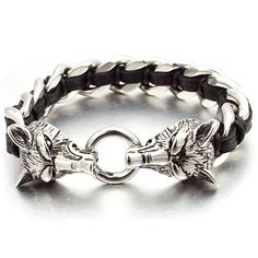 NIENDO <font><b>Promotion</b></font> Double Wolf Head Animal Silver Color Bracelet High Quality Stainless Steel Men Jewelry Party <font><b>Gift</b></font> Mens Silver Necklace, Silver Earrings, Silver Jewelry, Viking Metal, Wolf Jewelry, Jewelry Accessories, Jewelry Design, Loki, Bracelet Viking