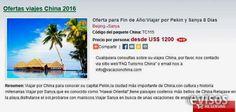 Oferta para Fin de Año:Viajar por Pekin y Sanya 8 Dias  Viajar por China para conocer su capital Pekin,la ciudad más importante de China,con cultura y ...  http://gustavo-a-madero.evisos.com.mx/oferta-para-fin-de-ano-viajar-por-pekin-y-sanya-8-dias-id-594055