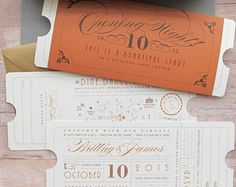 Formal Vintage Ticket Invitation with Sleeve Wrap Enclosure for Hollywood Movie Theater Red Carpet Theme Wedding Birthday Bar/Bat Mitzvah Ticket Invitation, Invitation Design, Invitation Cards, Vintage Wedding Invitations, Wedding Stationary, Bat Mitzvah, Wedding Paper, Wedding Cards, Red Carpet Theme