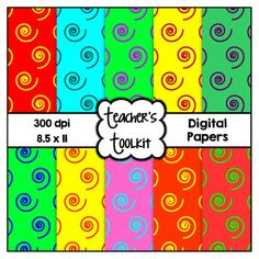 $ #Bright #Swirls #Digital #Papers {8.5 x 11} #Clip #Art CU OK