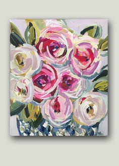 "Rose Abstract"" 20 x 24 x 3/8 Roses in a ginger jar, very ab strict and soft color. Sides are painted a light gray so ready to hang unless you choose to frame. Questions, just ask! Original art becomes property of buyer, seller retains right to sell prints unless otherwise"