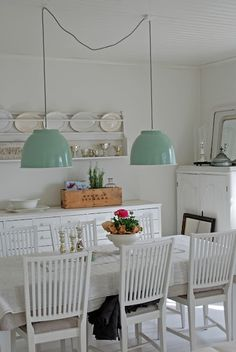 Cant beat a long farm table for that 'eat in the kitchen' family feeling . Cant beat a long farm table for that 'eat in the kitchen' family feeling . Green Pendant Light, Pendant Lights, Family Room Lighting, Pink Laundry Rooms, Green Lamp Shade, Kitchen Family Rooms, Big Kitchen, Kitchen Ideas, Room Inspiration